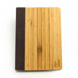 Houten iPad AIR 2 bookcase - bamboe & bruin leer - Hoentjen Creatie