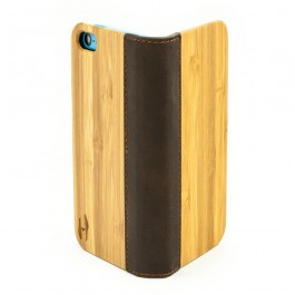 Houten flip case, iPhone 5C – Bamboe en bruin Leer