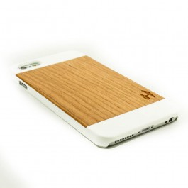 Wit design houten hardcase hoesje iPhone 6+ (PLUS) - kersenhout