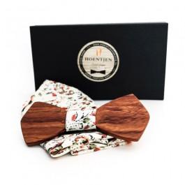 Hoentjen Creatie, Houten vlinderstrik - Palissander + gemêleerd pochet