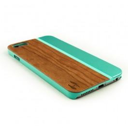 Hoentjen Creatie, Hout met metaal design hoesje iPhone 6+- kersenhout, aquamarine