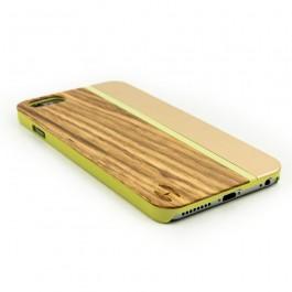 Hout met metaal design hoesje iPhone 6+ zebranohout, champange