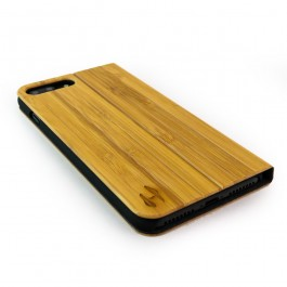 Houten design flip case, iPhone 7 plus – Bamboe