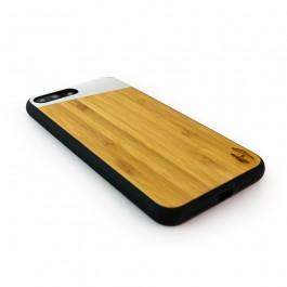 Hoentjen Creatie, Houten TPU case, iPhone 7 plus - Bamboe en grijs metaal schuin