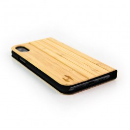 Houten design flip case, iPhone X – Bamboe