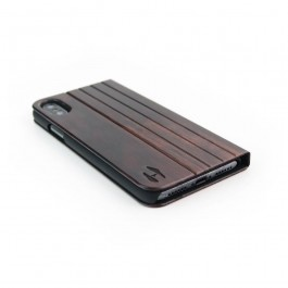 Houten design flip case, iPhone X – Padouk