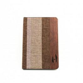 Houten iPad mini bookcase - palissander en stof