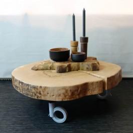 Hoentjen Creatie - Beuken houten boomstam salontafel schijf op wieltjes