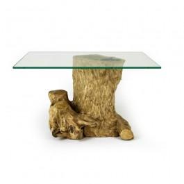 Hoentjen, Koffieboom, boomstronk salontafel met glazen blad