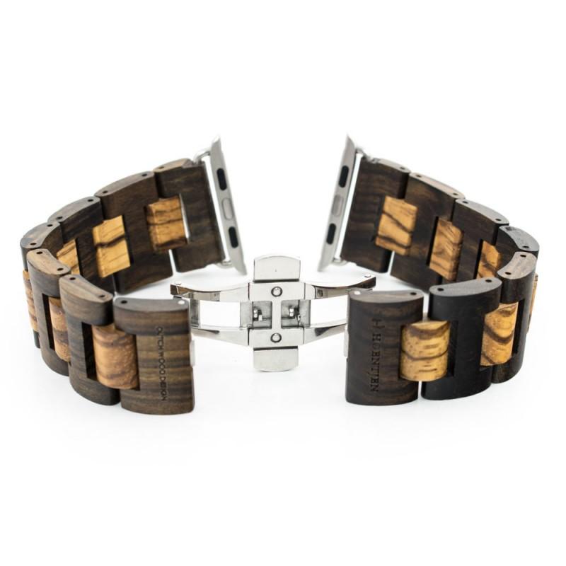 Hoentjen, houten band Apple Watch -Padouk &  Zebrano, 42mm