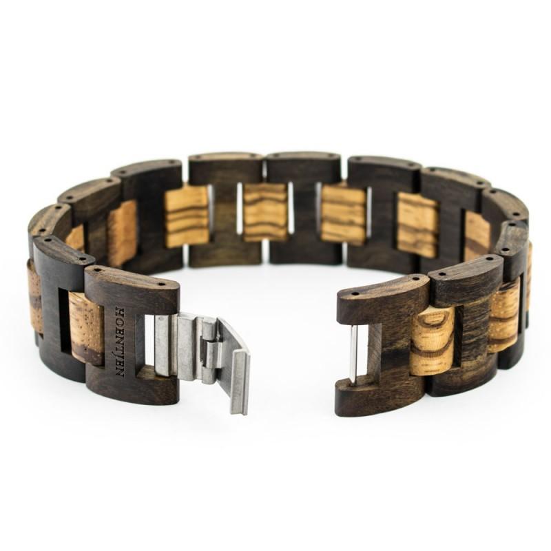 Hoentjen, houten armband - Padouk & Zebrano, 22mm