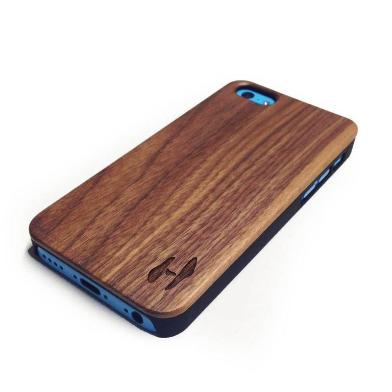 Echt houten hardcase hoesje iPhone 5C - donker notenhout