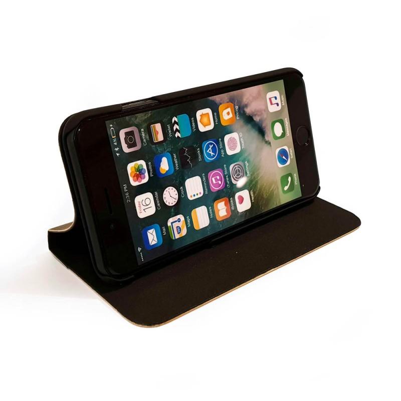 Houten design flip case, iPhone 8 – bamboe en bruin leer