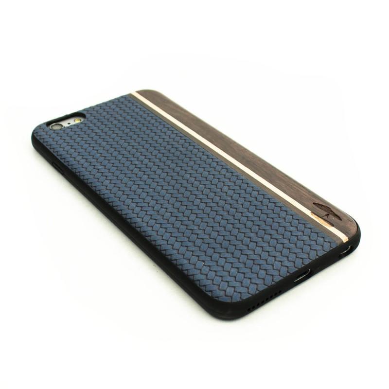 Houten TPU case, iPhone 6 Plus / 6s Plus - Padouk, esdoorn en blauw leer