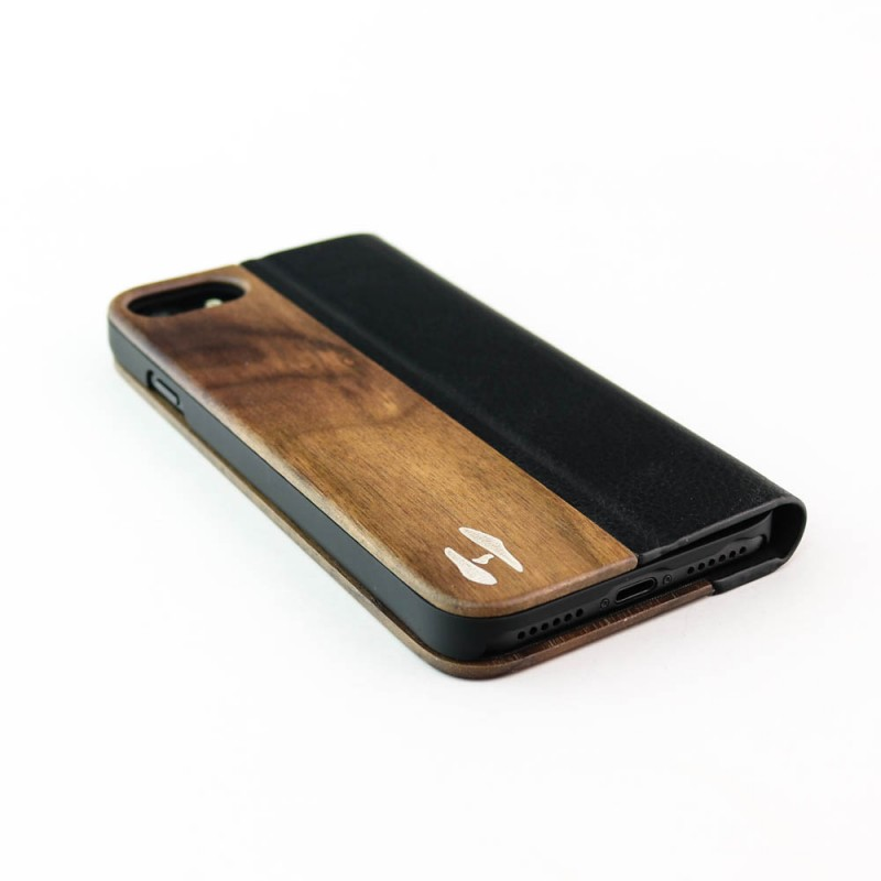 Houten design flip case, iPhone 7 – notenhout en leer