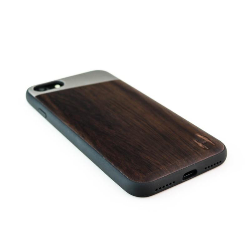 Hoentjen Creatie, Houten TPU case, iPhone 8 - Padouk en grijs metaal schuin