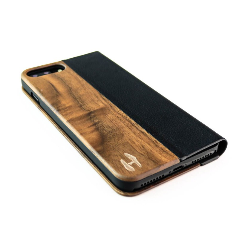 Houten design flip case, iPhone 7 plus – notenhout en leer