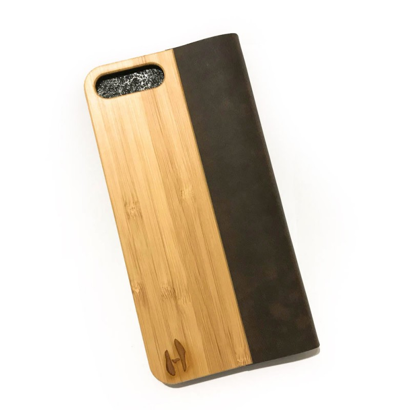 Houten design flip case, iPhone 7 plus – Bamboe met leer