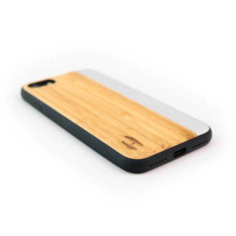Hoentjen Creatie, Houten TPU case, iPhone 7 - Bamboe en grijs metaal