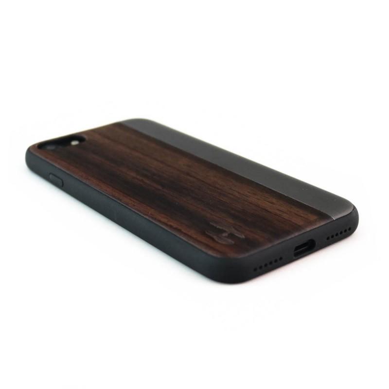 Hoentjen Creatie, Houten TPU case, iPhone 7 - Padouk en grijs metaal
