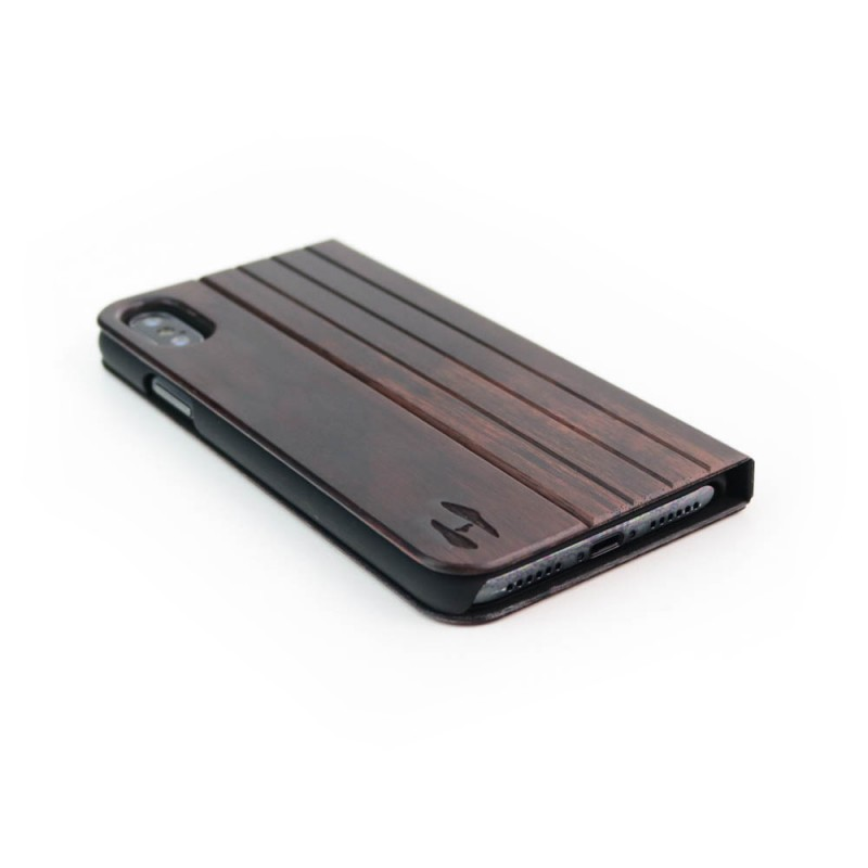 Houten design flip case, iPhone X – Padouk
