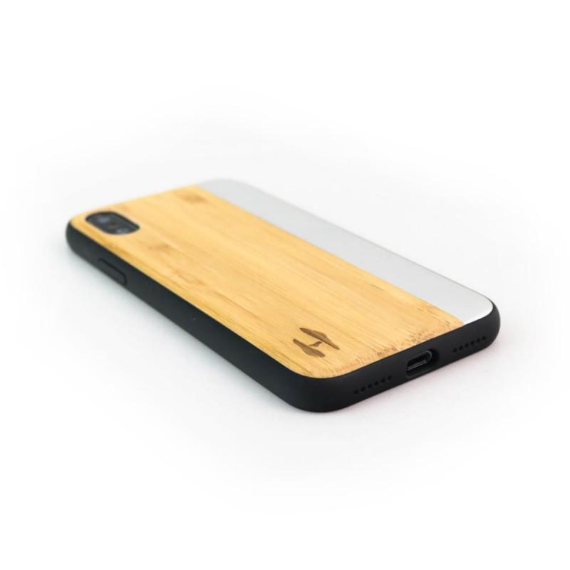 Hoentjen Creatie, Houten TPU case, iPhone X - Bamboe en grijs metaal