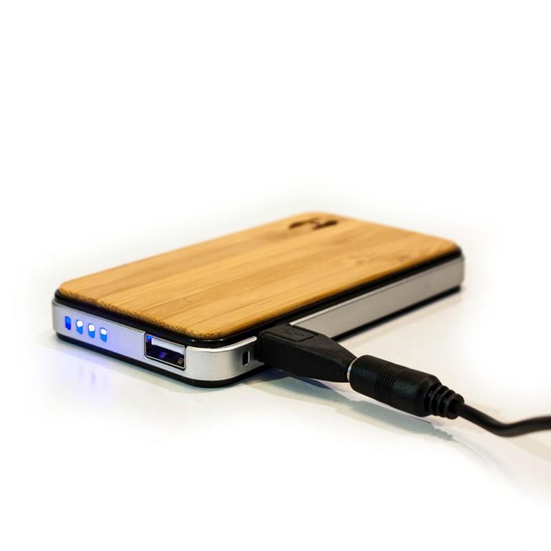 Wood design power bank 2700 met solar lader voor iPhone, iPad of Samsung