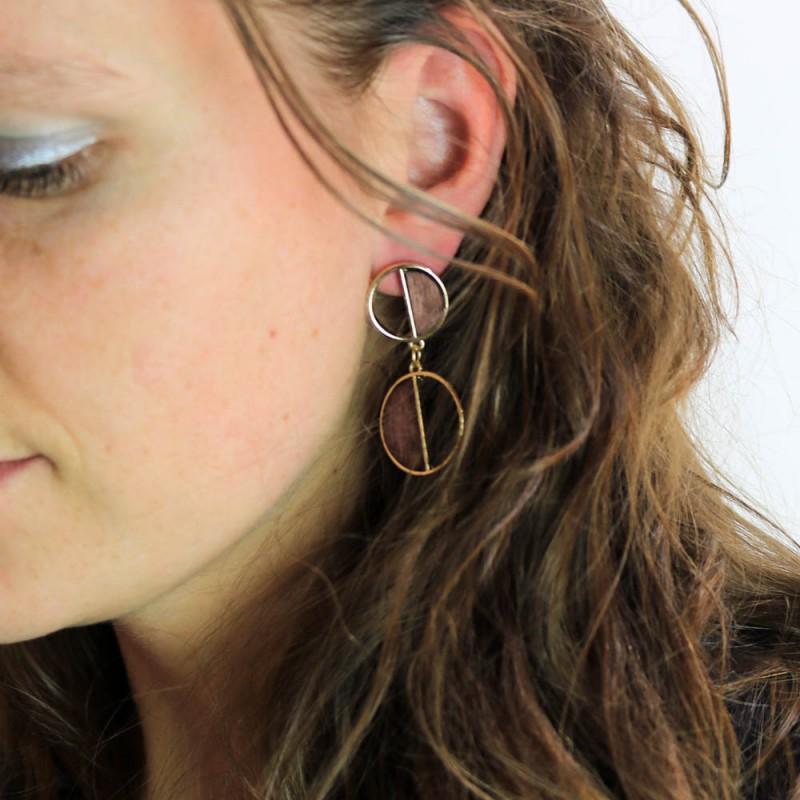 Hoentjen creatie - Houten oorbel, hout met goud