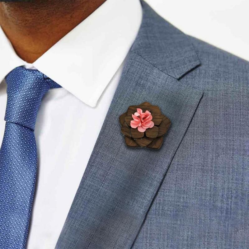 Hoentjen, houten Revers bloem / broche pink