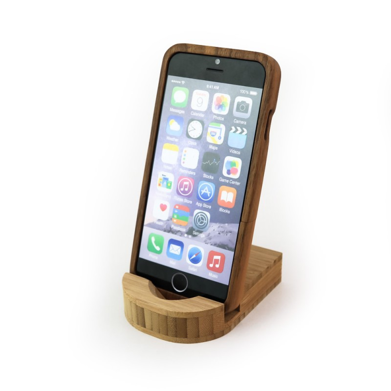 Houten standaard voor telefoon, iPad-mini of toetsenbord