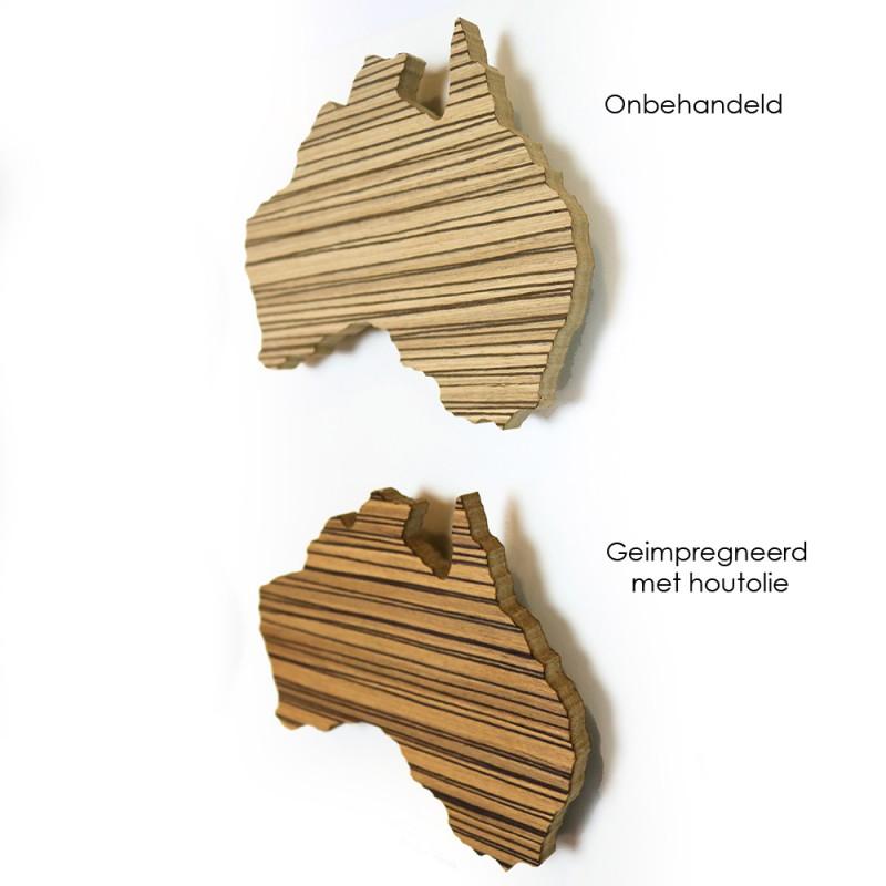 Hoentjen - Houten wereldkaart, Zebrano