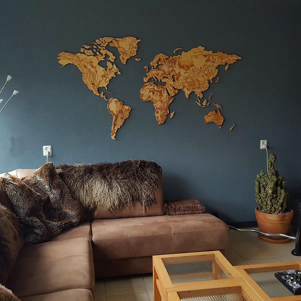 Ongekend Houten wereldkaart met gebergte, 3D berkenhout PB-24