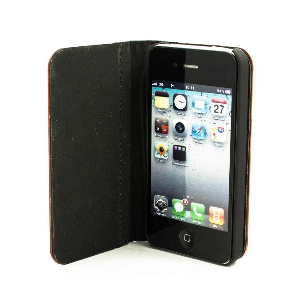 the best attitude 91ddf 6b8a3 Houten design flip case, iPhone 4 / 4S – palissander en leer