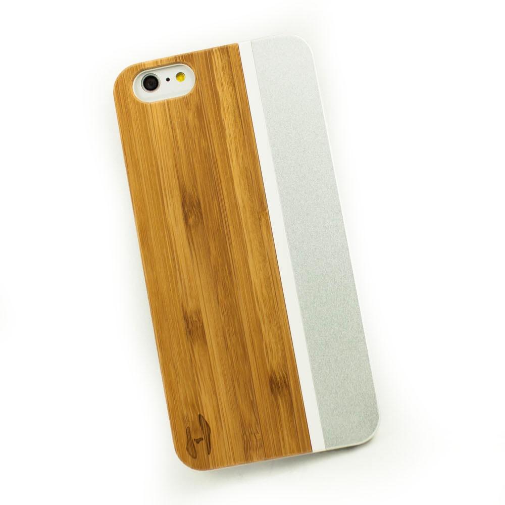 Hout Met Metaal Design Hoesje Iphone 6 Plus 6s Plus Bamboe Met