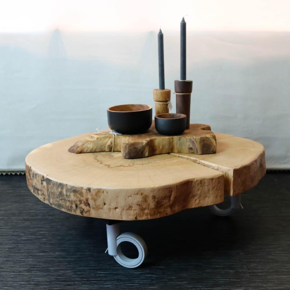 Fabulous Boomstam salontafel schijf op open wieltjes &VG74