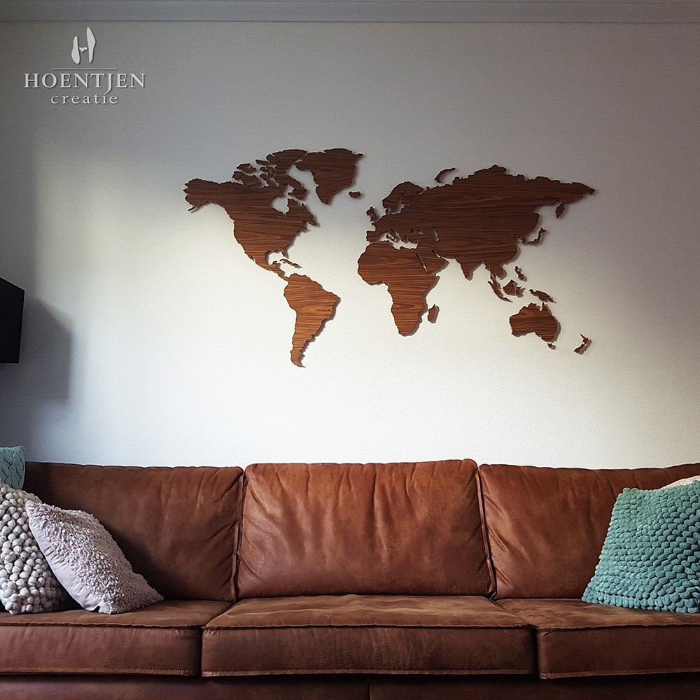 Uitgelezene Houten wereldkaart, palissander RQ-77