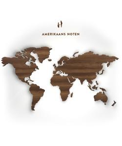 Houten wereldkaart, Amerikaans noten 133 cm,