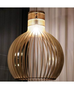Hoentjen Creatie, Houten lamp - Grote bolvormige hanglamp