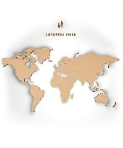 Hoentjen - Houten wereldkaart, Europees eiken