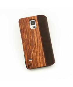 Houten flip case, Samsung Galaxy S5, palissander & bruin leer