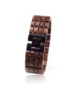 Hoentjen, Houten Armband - Notenhout En Zwart Metaal 25mm