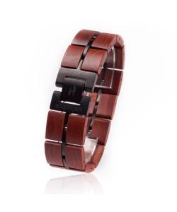 Hoentjen, Houten Armband - Palissander met metaal 22mm