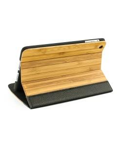 Houten iPad mini bookcase - bamboehout met zwart leer - Hoentjen Creatie