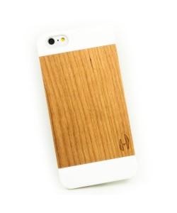 Wit design houten hardcase hoesje iPhone 6+ (PLUS) - kersenhout