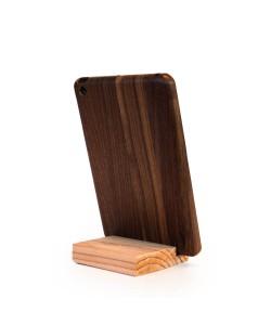 Houten iPad mini hoes - donker notenhout - Hoentjen Creatie