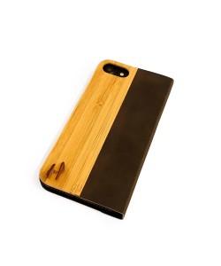 Hoentjen Creatie, Houten telefoonhoesje - iPhone SE 2020 bamboe en bruin leer