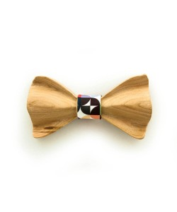 Hoentjen, Luxe houten vlinder strik - orange