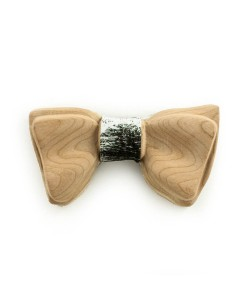 Hoentjen, Luxe houten vlinder strik - White