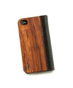Houten design flip case, iPhone 4 / 4S - Palissander hout en leer