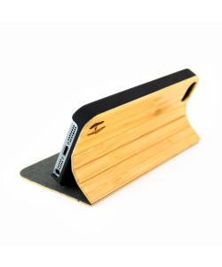 Hoentjen Creatie - Houten design flip case, iPhone SE – Bamboe